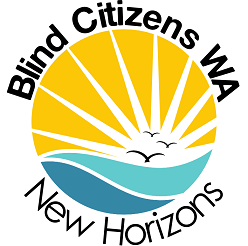 Logo with gulls over blue ocean with yellow sun rising. The words Blind Citizens WA curve around the top with the words New Horizons around the bottom.